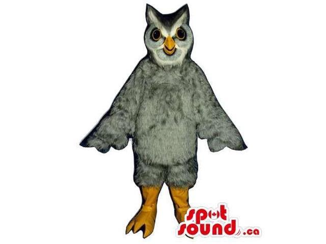 Grey And White Owl Bird Canadian SpotSound Mascot With Small Eyes And Yellow Beak