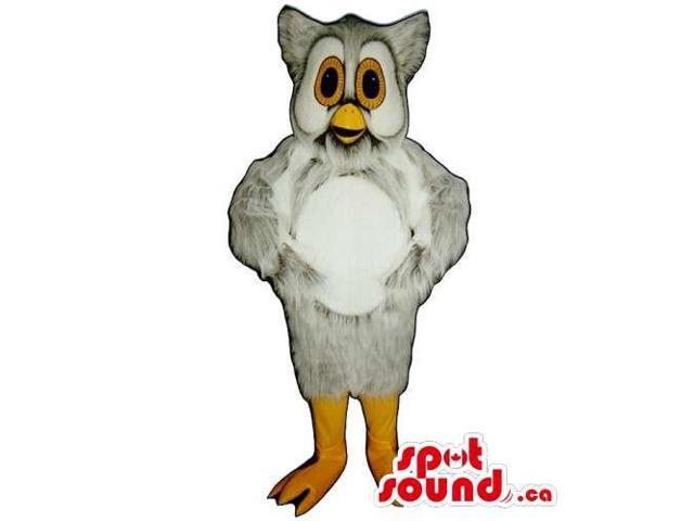 Cute Grey Owl Bird Canadian SpotSound Mascot With A White Belly And Yellow Eyes