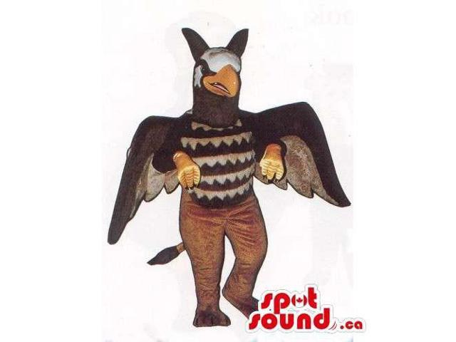 Customised Brown Bird Canadian SpotSound Mascot With Large Wings And Wild Face