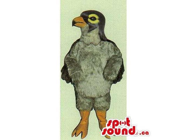 Customised Original Grey Bird Canadian SpotSound Mascot With Yellow Eyes