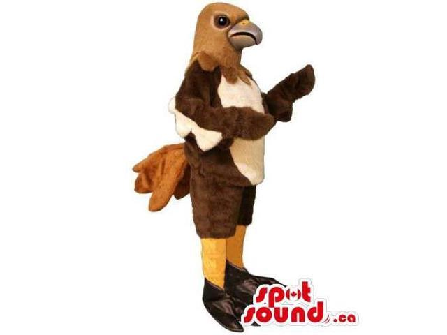 Customised Original Brown And Beige Bird Canadian SpotSound Mascot With Peculiar Tail