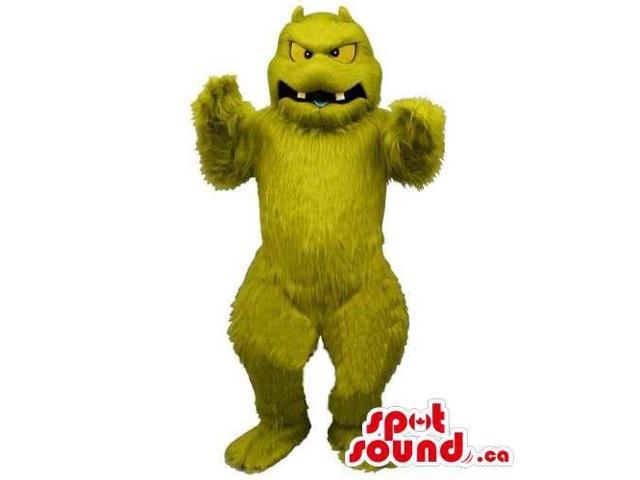 All Green And Woolly Monster Canadian SpotSound Mascot With Yellow Eyes