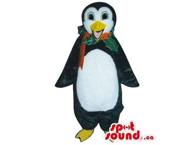 Customised Penguin Animal Canadian SpotSound Mascot With A Christmas Holy Ribbon