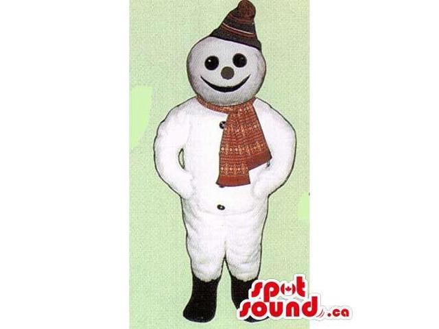 Customised Snowman Canadian SpotSound Mascot Dressed In A Winter Hat And Scarf