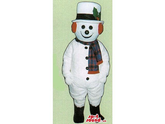 Snowman Canadian SpotSound Mascot Dressed In A Top Hat, Scarf And Ear Warmers