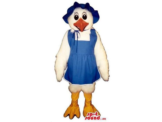 Cute White Lady Chicken Plush Canadian SpotSound Mascot Dressed In Blue Country Gear