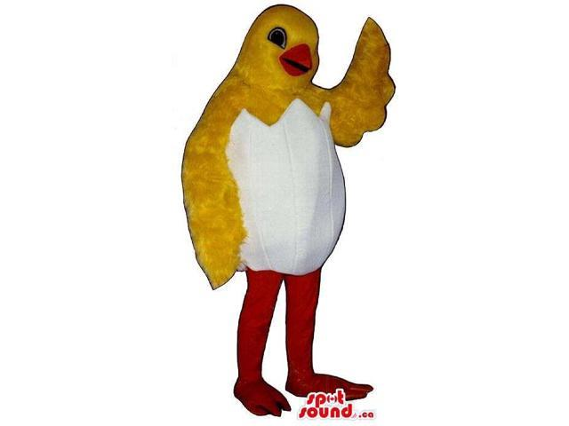 Cute Yellow Soft Chicken Plush Canadian SpotSound Mascot In A Hatched Egg