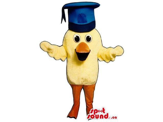 Cute Small Yellow Chicken Plush Canadian SpotSound Mascot In A Graduation Hat