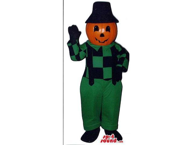 Pumpkin Canadian SpotSound Mascot In Green And Black Farm Gear And Hat