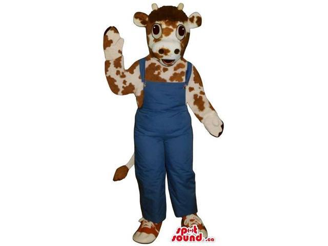 Brown And White Peculiar Cow Canadian SpotSound Mascot Dressed In Blue Overalls