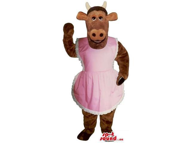 Customised Brown Lady Cow Canadian SpotSound Mascot Dressed In A Pink Apron