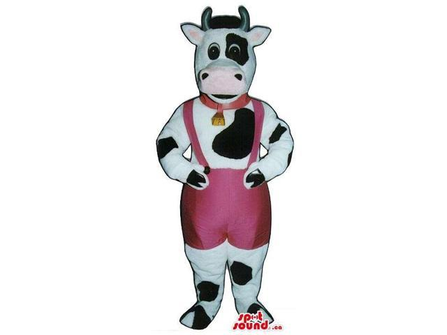White And Black Cow Canadian SpotSound Mascot Dressed In Pink Overalls And A Bell