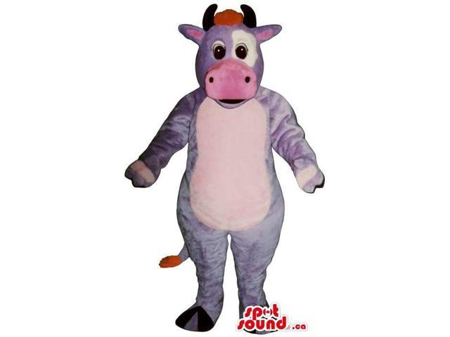 Fairy-Tale Purple And Pink Cow Canadian SpotSound Mascot With A White Belly