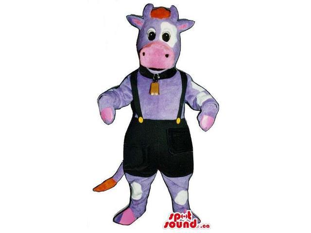 Purple And Pink Cow Canadian SpotSound Mascot Dressed In A Bell And Overalls