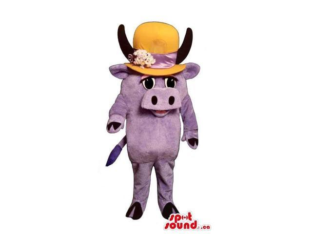 Cute Small All Purple Cow Canadian SpotSound Mascot In A Large Flower Hat
