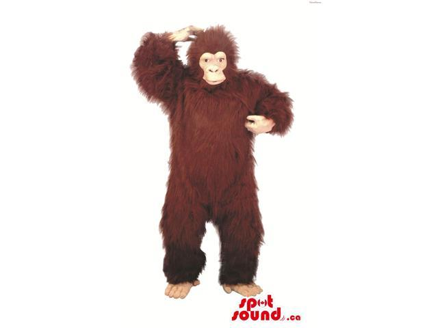 Large Woolly Brown Chimpanzee Or Gorilla Plush Canadian SpotSound Mascot