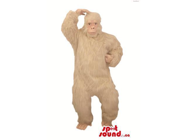 Large Woolly White Chimpanzee Or Gorilla Plush Canadian SpotSound Mascot