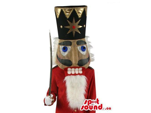 Nut-Cracker Soldier Canadian SpotSound Mascot Dressed In A Golden Hat And A Sword