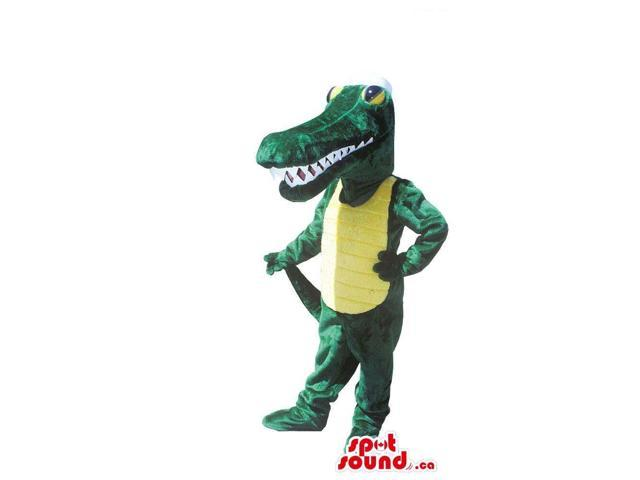 Green And Yellow Crocodile Plush Canadian SpotSound Mascot With Sharp Teeth