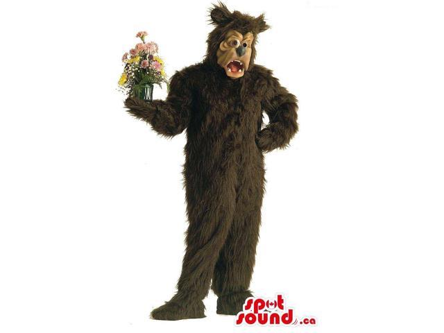 Dark Brown Large Bear Plush Canadian SpotSound Mascot With A Flower Vase