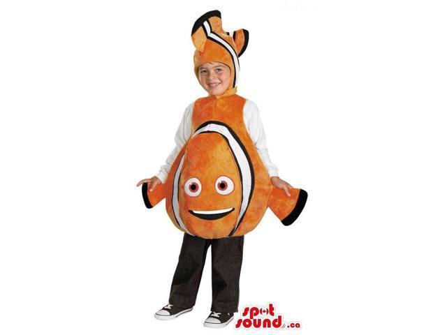 Orange And White Nemo Fish Character Children Size Plush Costume