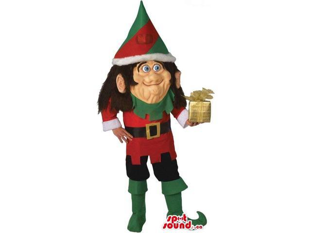 Dwarf Character Canadian SpotSound Mascot With A Pointy Hat And A Present