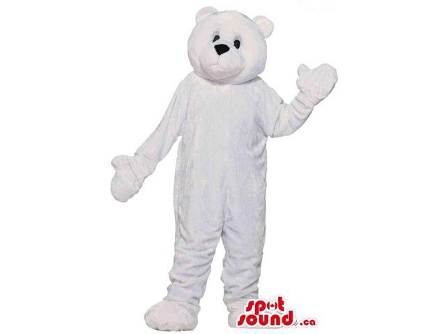 Customised Cute All White Bear Plush Canadian SpotSound Mascot With Closed Mouth