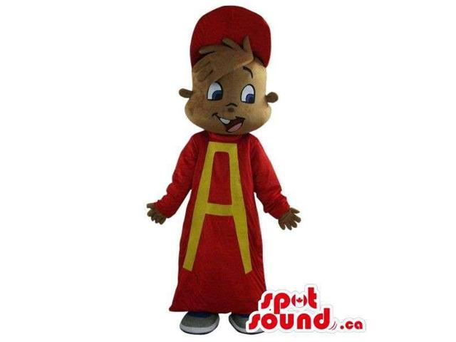 Original Alvin Chipmunk Cartoon Character Plush Canadian SpotSound Mascot In Red