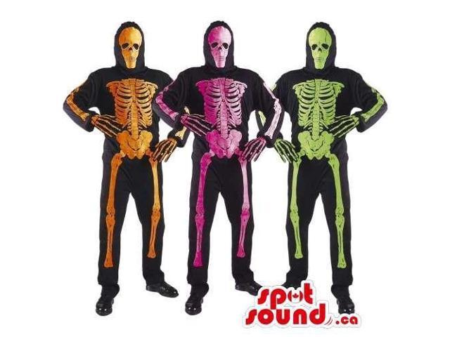 Halloween Skeleton Trio Plush Costume In Neon Colors