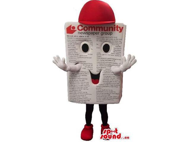 Cute Newspaper Plush Canadian SpotSound Mascot Dressed In A Red Cap And Shoes