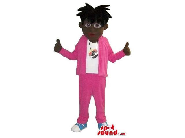 Cool Plush Canadian SpotSound Mascot With A Black Hairdo In Flashy Pink Tracksuit