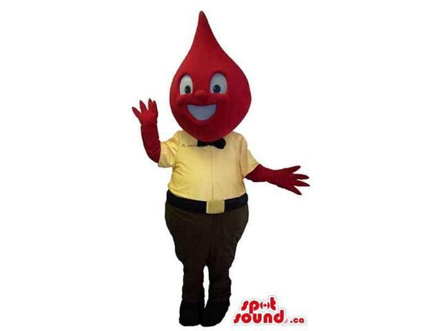 Red Drop Head Plush Canadian SpotSound Mascot Dressed In A Yellow Shirt And Bow Tie