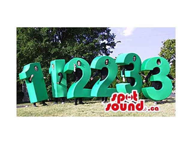 Six Customised Large Green Number Plush Canadian SpotSound Mascots Or Costumes