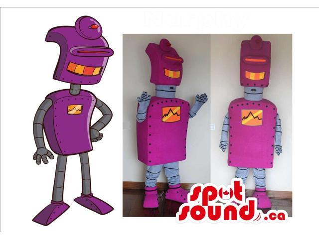Three Customised Purple Robot Plush Canadian SpotSound Mascots And A Drawing