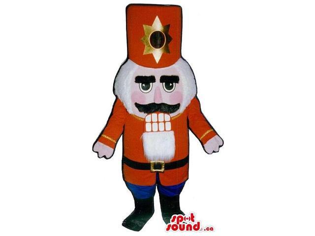 Nut-Cracker Soldier Canadian SpotSound Mascot With A Large Red Shinny Hat