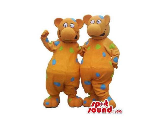 Customised Brown Bear Plush Canadian SpotSound Mascots With Colourful Dots