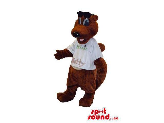 Brown Chipmunk Animal Plush Canadian SpotSound Mascot Dressed In A White T-Shirt