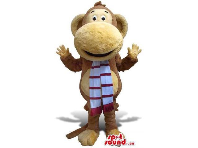 Brown Monkey Canadian SpotSound Mascot With Large Nose Dressed In A Striped Scarf