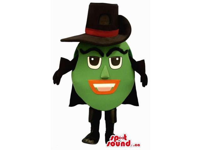 Customised Mysterious Green Round Canadian SpotSound Mascot Dressed In A Hat