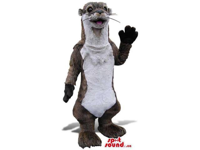 Grey Otter Animal Plush Canadian SpotSound Mascot With A White Belly And Whiskers