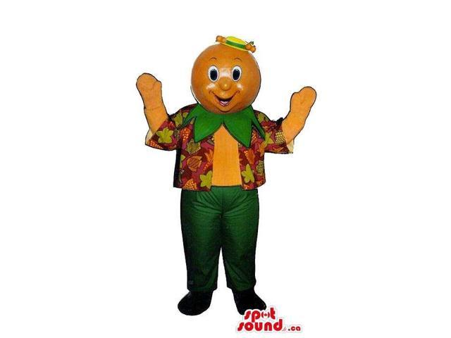 Orange Fruit Head Character Canadian SpotSound Mascot Dressed In A Colourful Vest