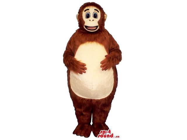 Brown Woolly Monkey Plush Canadian SpotSound Mascot With A Round Belly