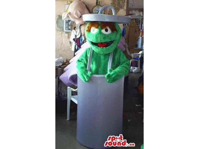 Well-Known Green Woolly Muppets Monster Canadian SpotSound Mascot In A Trash Can