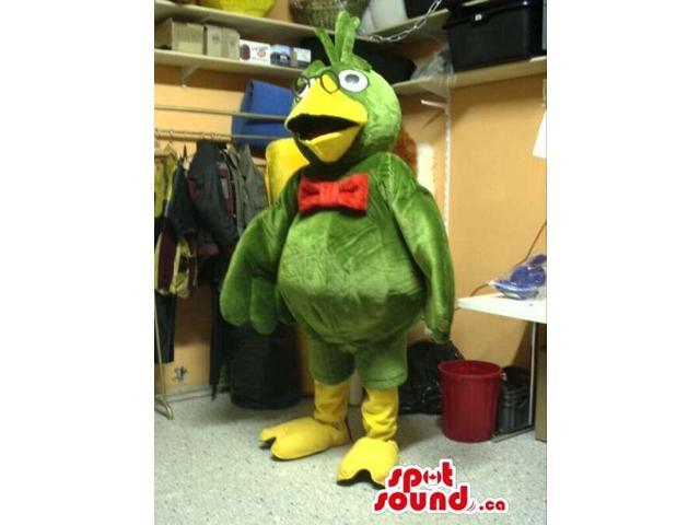 Green Parrot Plush Canadian SpotSound Mascot Dressed In A Red Bow Tie And Glasses