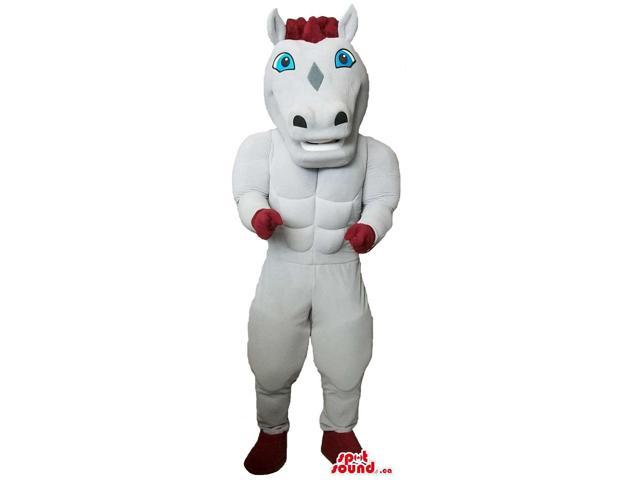 White Horse Plush Canadian SpotSound Mascot That Looks Like A Toy With Blue Eyes