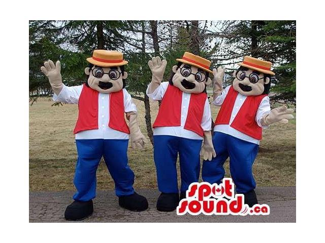 Three Human Canadian SpotSound Mascots With Black Glasses, A Hat, A Vest And Pants