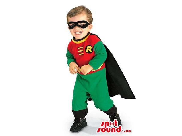 Cute Green And Red Robin Superhero Children Size Costume