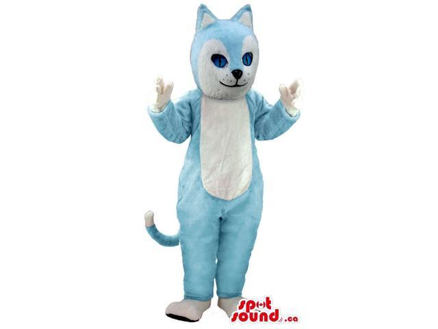 Blue And White Cat Animal Canadian SpotSound Mascot With Pointy Ears And A Tail