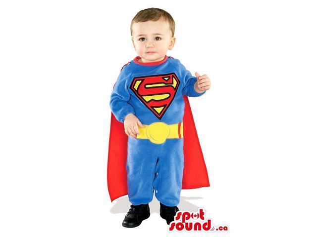 Cute Blue And Red Superman Super Hero Children Size Costume