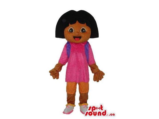 Dark Dora The Explorer Cartoon Character Canadian SpotSound Mascot With Gloves